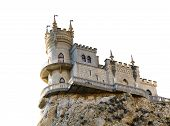 Swallow Nest Castle On Cliff In Crimea Isolated