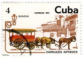 Cuba - Circa 1981: A Stamp Printed In Cuba Shows Image Of The Crew With Horses.