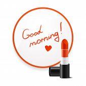 Inscription lipstick to wish good morning glued to mirror