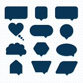 Assorted empty round corner silhouette speech bubble icons set