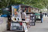 Sidewalk artists on Seine Embankment