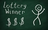 pic of lottery winners  - On the blackboard draw character and write Lottery winner - JPG