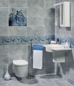 stock photo of sink  - A luxury interior of modern bathroom with sink and toilet - JPG