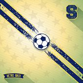 pic of diagonal lines  - Retro background with two sport line on diagonal and soccer ball in center - JPG