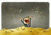 picture of greedy  - funny illustration of man celebrating his wealth - JPG