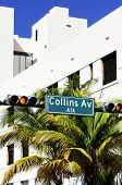 foto of collins  - street sign of famous of Collins Avenue Miami Florida USA - JPG