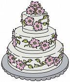pic of wedding feast  - Hand drawing of a big wedding cake - JPG