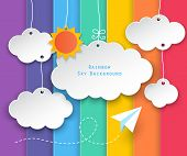 picture of float-plane  - paper clouds sun hanging and planes flying on rainbow sky background - JPG