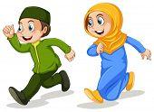 pic of muslim kids  - Boy and girl muslim running - JPG