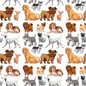 stock photo of hound dog  - Seamless different kinds of dogs - JPG