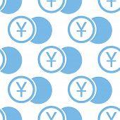 stock photo of yen  - Yen coin white and blue seamless pattern for web design - JPG