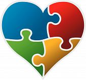 colorful puzzle heart vector