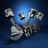 foto of piston-rod  - V4 engine pistons and cog on blue background - JPG