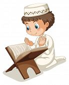 foto of muslim  - Close up muslim boy praying  - JPG