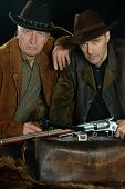 picture of gunslinger  - Portrait of bandits in the wild west clothes - JPG