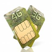 foto of micro-sim  - 3d rendering of 3G and 4G smartphone sim card isolated on white background - JPG