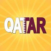 foto of qatar  - Qatar flag text with sunburst illustration - JPG