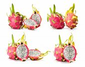 picture of dragon fruit  - composite of dragon fruit  isolated on white background - JPG