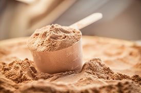 picture of nutrients  - Whey protein scoop. Sports nutrition food after gym. ** Note: Shallow depth of field - JPG