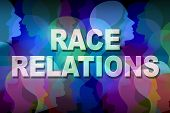 image of understanding  - Race relations social issue concept as a group of people heads and faces of different colors with text as a symbol for multicultural relationship in society between ethnic groups and racial respect and understanding - JPG