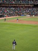 Braves Right Fielder Jason Heyward Stands Around As Batter Steps Into Box