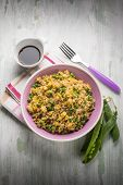 picture of soy sauce  - barley risotto with green peas scramble eggs and soy sauce - JPG