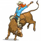 image of texans  - Cowgirl riding a bull - JPG