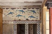 picture of dolphins  - detail of Queen s Megaron with dolphins fresco at the Palace of Knossos - JPG