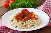 image of meatball  - Pasta and meatballs with tomato sauce in white plate - JPG