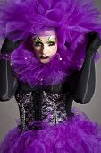 foto of transexual  - Drag Queen Daruma with violet dress portrait - JPG