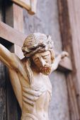 stock photo of passion christ  - Holy cross with crucified Jesus Christ  - JPG