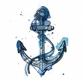 pic of anchor  - Watercolor and ink illustration of an anchor - JPG