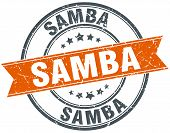 foto of samba  - samba round orange grungy vintage isolated stamp - JPG