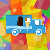 pic of ice-cream truck  - Ice cream truck on bright colorful background - JPG