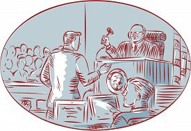 stock photo of jury  - Etching engraving handmade style illustration of a courtroom scene showing a judge a defendant prosecutor jury and lawyer set inside oval shape - JPG