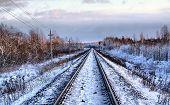railway in winter. hdr