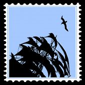 vector silhouette sailfish on postage stamps