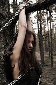 bruxa aderida na madeira na noite de Halloween