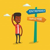 An african-american man standing at road sign with two career ways - entrepreneur and employee. Man  poster