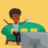 An african girl playing video game. Excited young woman with console in hands playing video game at  poster