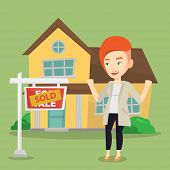 Excited caucasian real estate agent standing in front of sold real estate placard and house. Profess poster