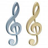 3d metallic violin clefs