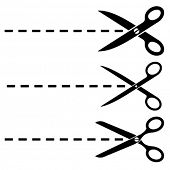 Vector scissors cut lines