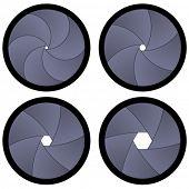 Vector aberturas de obturador de cámara