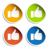 image of thumbs-up  - vector thumb up stickers - JPG