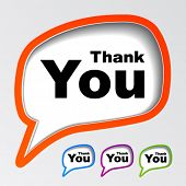 stock photo of thank you note  - vector speech bubbles thank you - JPG