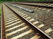 Train Tracks In Diagonal Perspective