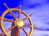 Steering wheel on a blue sky background