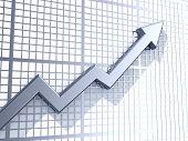 Business graph with upward arrow - 3d render