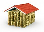 Monedas de oro bajo techo de teja, aislado en blanco - 3d render